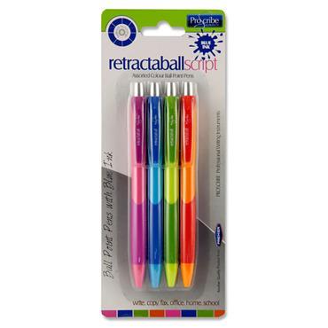 Pro:scribe Card 4 Asst. Ballpoint Pens Blue Ink - Neon