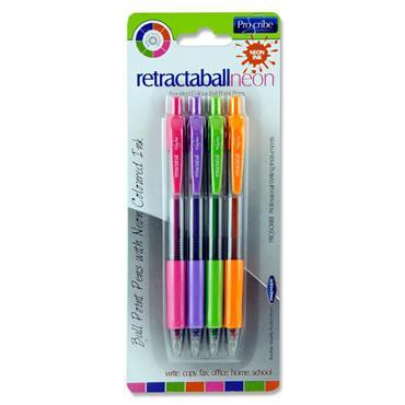 Pro:scribe Card 4 Asst. Ballpoint Pens - Neon