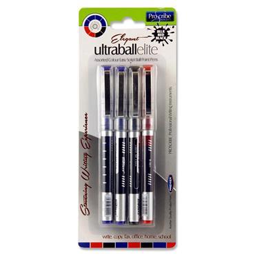 Pro:scribe Card 4 Asst. Ultraball Elite Ballpoint Pens