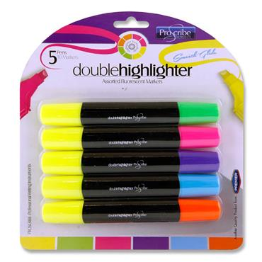 Pro:scribe Card 5 Double Ended Highlighter Markers