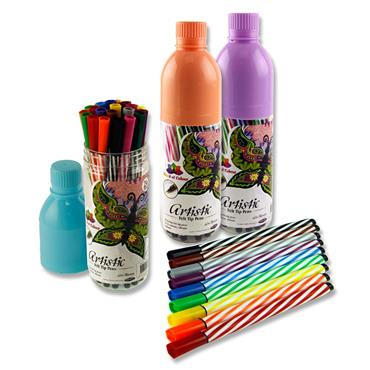 WOC BOTTLE OF 24 ARTISTIC FELT TIP PENS 3 ASST.