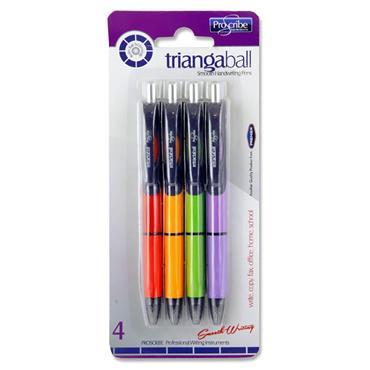 Pro:scribe Card 4 Asst Triangaball Ballpoint Pens