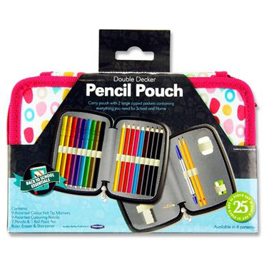 STUDENT SOLUTIONS DOUBLE DECKER 25pce FILLED PENCIL POUCH - SWEETY