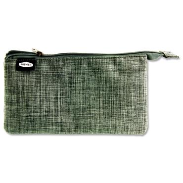 PREMIER 3 POCKET FLAT PENCIL CASE - GREY