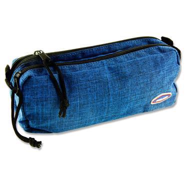 Premier Twin Zip Pencil Case - Blue Denim
