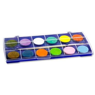 WOC 12 COLOUR WATERCOLOUR PAINT PALETTE SET WITH BRUSH