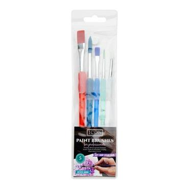 ICON WALLET 5 SOFT GRIP NYLON PAINT BRUSHES