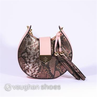 Volume Saddle Bag With Gold Chain - Pink Snake