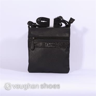Rieker Crossbody Glitz Strip Zip Bag - Black