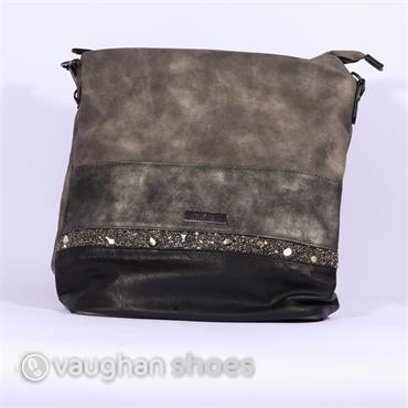 Rieker Shopper Bag Rhinestone Detail - Grey
