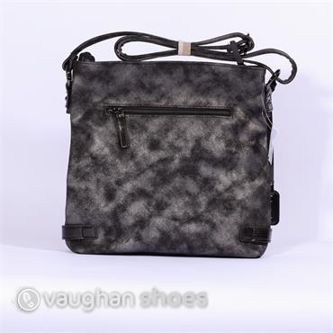 Rieker Crossbody 2zip Detail Bag - Black Combi