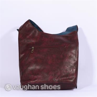Rieker Crossbody Twine Zip Detail Bag - Wine Combi