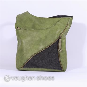 Rieker Crossbody Fabric Zip Detail Bag - Green