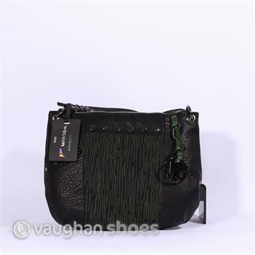 Volum Cross Body With Knitted Panel - Black/green