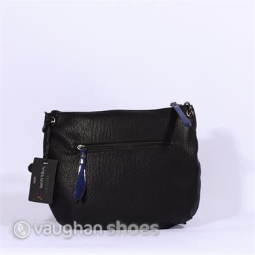 Volum Cross Body With Knitted Panel - Black/Blue
