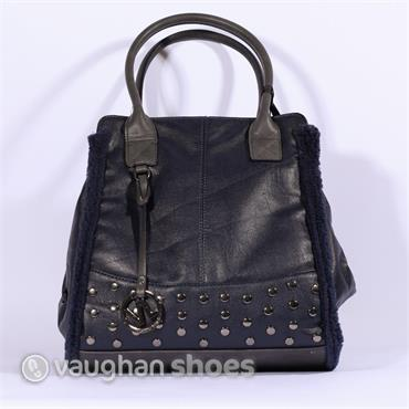 Volum Trapeze Bag With Stud Detail - Navy