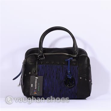 Volum Bowling Bag With Knitted Panel - Black/Blue