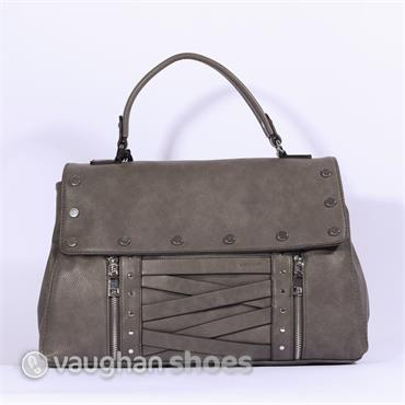 Volum Bowling Bag With Stud Detail - Grey