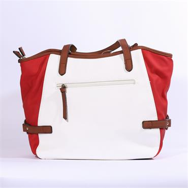 Rieker 3 Tone Shopper Bag - White Red Navy