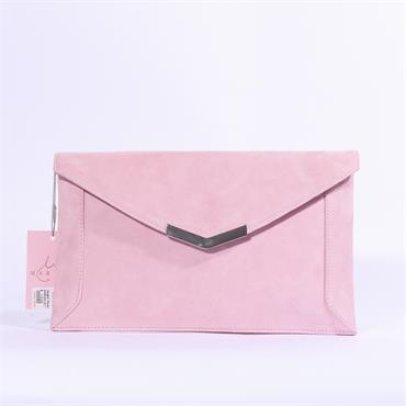 Marian Leather Clutch Chain Strap - Pink Suede
