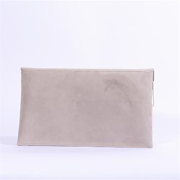 Marian Leather Clutch Chain Strap - Grey Suede
