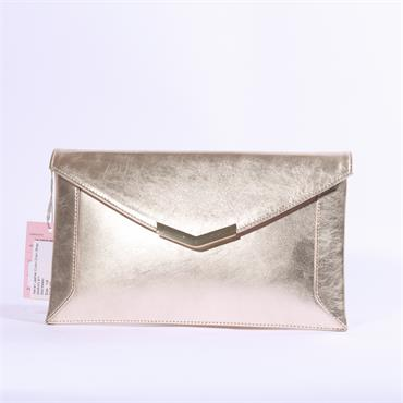 Marian Leather Clutch Chain Strap - Gold Metallic