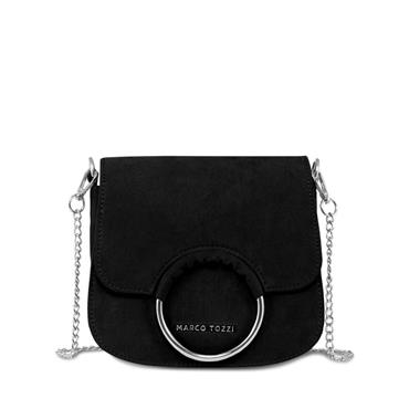 Marco Tozzi Saddle Bag - Black Suede