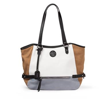 Rieker 3 Tone Shopper Bag - White Tan Grey