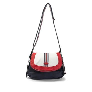 Rieker Crossbody Flap Bag - Navy White Red