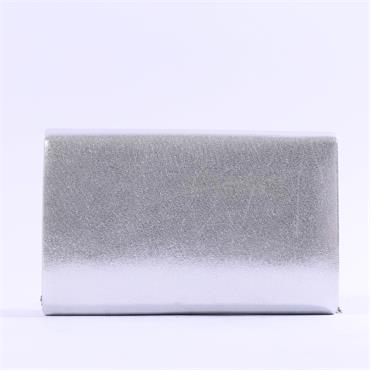 Glamour Susan Diamante Trim Clutch Bag - Silver