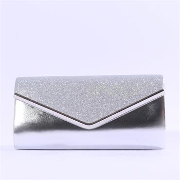 Glamour Sadie Glitter Clutch Bag - Silver Shimmer