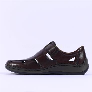Rieker Men Velcro Strap Shoe Idaho - Brown Leather