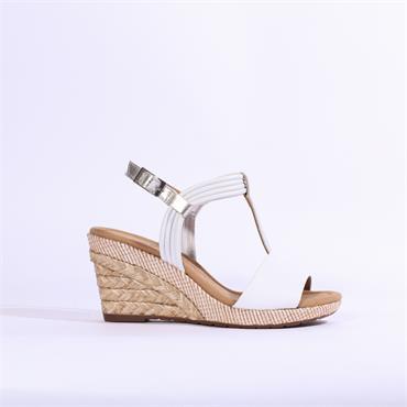 Gabor Jess TBar Espadrille Wedge Sandal - White Combi