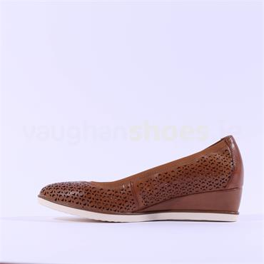 Tamaris Leather Perforated Wedge - Cognac Leather