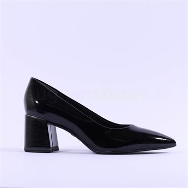 Tamaris Valeria Block Heel Court Shoe - Black Patent
