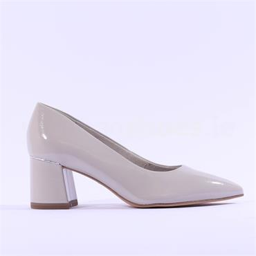 Tamaris Valeria Block Heel Court Shoe - Grey Patent