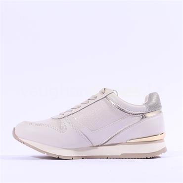 Tamaris Daki Laced Side Zip Trainer - Cream Gold
