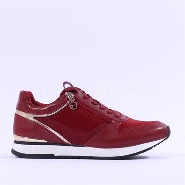 Tamaris Daki Laced Side Zip Trainer - Red Combi