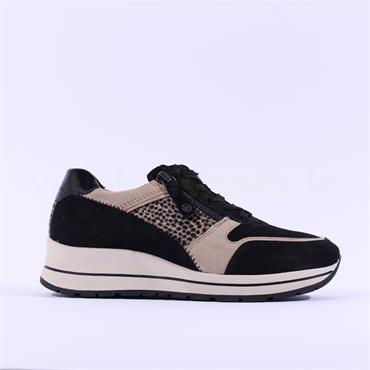 Tamaris Vinny Side Zip Leather Trainer - Black Leopard Combi