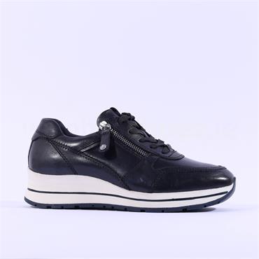 Tamaris Vinny Side Zip Leather Trainer - Navy Leather