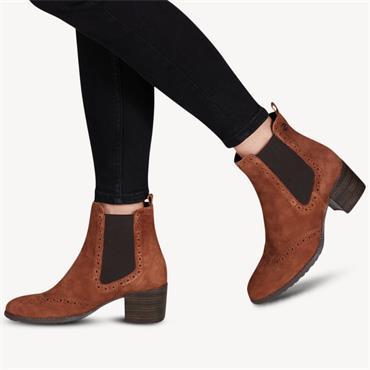 Tamaris Block Heel Chelsea Boot - Cognac Suede