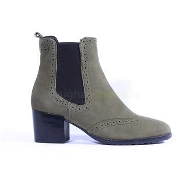 Tamaris Block Heel Chelsea Boot - Olive Suede
