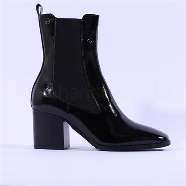 Tamaris Pythia Block Heel Gusset Boot - Black Patent