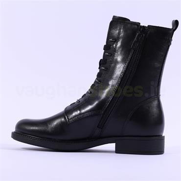 Tamaris Susan Side Zip Stud Ring Boot - Black Leather