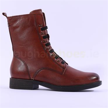 Tamaris Susan Side Zip Stud Ring Boot - Tan Leather