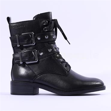 Tamaris Manisa Two Strap Lace Biker Boot - Black Leather