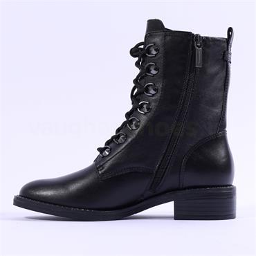 Tamaris Manisa Eyelet Detail Lace Boot - Black Leather