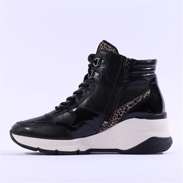 Tamaris Elara Wedge Side Zip Lace Bootie - Black Leopard Combi
