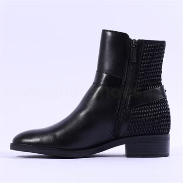 Tamaris Manisa Buckle Strap Biker Boot - Black Leather