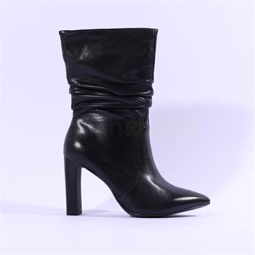 Tamaris Idony High Folded Ankle Boot - Black Leather
